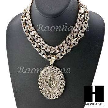 """Iced Out Freemason Oval Pendant 16"""" Iced Out Choker 18"""" Puffed Gucci Chain Set 8"""