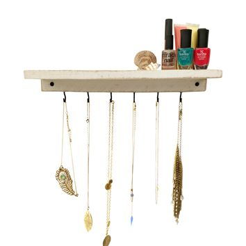Reclaimed Wood Floating Shelf + Necklace Holder - Shabby Chic