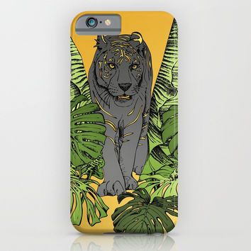 Tiger, Tropic Plants iPhone & iPod Case by MIKART