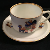 Vintage Bavarian Child's Cup and Saucer, German Cup and Saucer, German Porcelain, Hand Painted  Porcelain cup and saucer with a gold rim