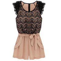 Floral Lace Paneled Romper with Waist Tie