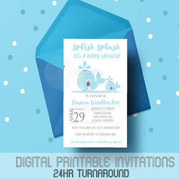 Baby Shower Whale Baby, Watercolor whales, Digital Invitation, Baby Shower, Boy Baby Shower, Whale Baby