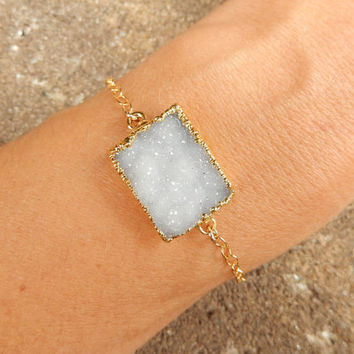 White Druzy Bracelet Rectangle 14K Gold Quartz Crystal Drusy - Free Shipping OOAK Jewelry