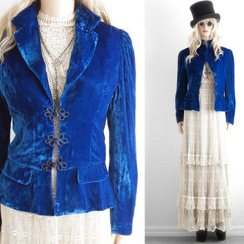 Dior Blue Velvet Jacket Steampunk Clothing Victorian Jacket Vintage Designer Clothing Steampunk Couture Gothic Clothing Christian Dior xs