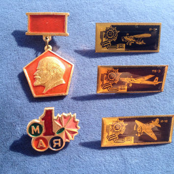 Set of 5 Soviet vintage pin includes AIRCRAFT, Lenin medal,  Workers' Day on May 1st,  ussr collectibles collector