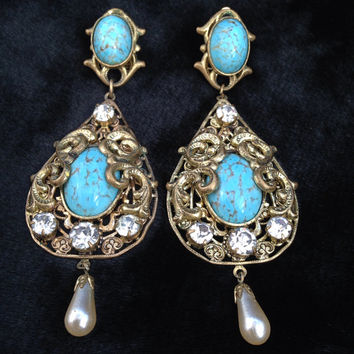 SALE / Vintage gold tone filigree rhinestone, turquoise, pearl drop clip earrings. Made in Czechoslovakia in 1980s.