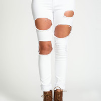 Torn Out White Skinny Jeans