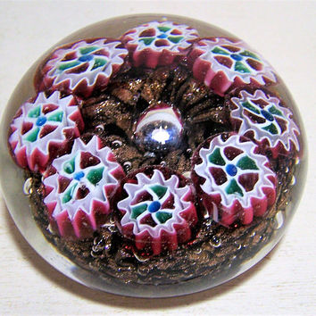 Murano Millefiori Blown Art Glass Paperweight, Goldstone Aventurine Glass Paperweight, Mid Century Paper Weight, Murano Italian Glass 617