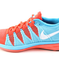 Nike Flyknit Lunar2 Women's Crimson Red/Chlorine Blue/White Running Shoes 620658 600