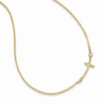 14k Yellow Small Sideways Curved Cross Necklace