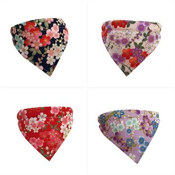 Japanese Style flowers Patterns Adjustable Pet Dog Puppy Cat Neck Scarf Bandana with Collar Neckerchief High Quality