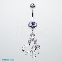 Sweet Butterfly Heart Belly Ring