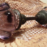 Old Purple Amethyst GLASS & BRASS Door Knob Set