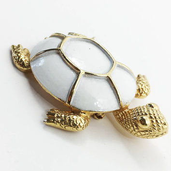Enamel and Gold Turtle Brooch, Vintage Enamel Turtle Pin, Gold and White Turtle, Coro Signed Brooch, Figural, Vintage Turtle, Turtle Jewelry