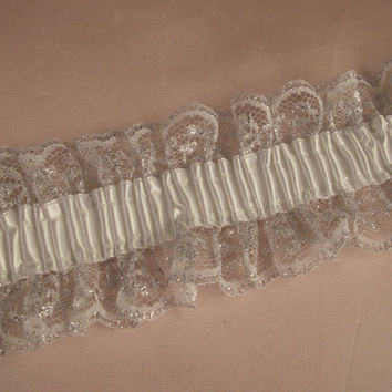 White and Silver Elastic Ruffled Lace with White Ribbon, Apparel, Lingerie, Lace for Garters, Bridal Accessories, Burlesque, Costumes