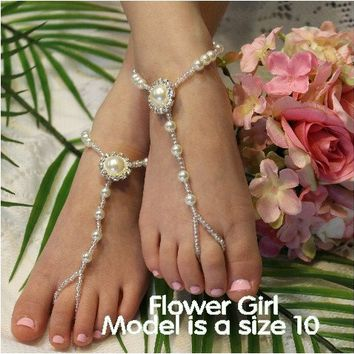 PEARL Flower Girl barefoot sandals