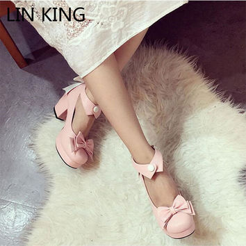 LIN KING Women Pumps High Thick Square Heel Bowtie Cute Lolita Shoes Solid PU Ankle Strap Round Toe Kawaii Shoes