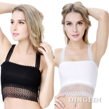 GZDL Sexy Women Crochet Lace Bustier Butterfly Floral Cropped Bra Body Camisole Tube Tops Tank Corset Crop Top Chest Wrap BR5049