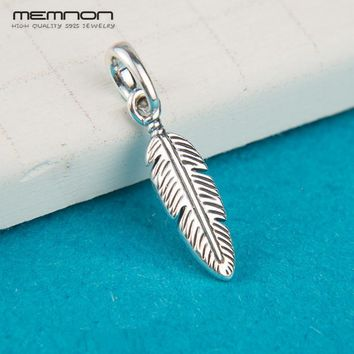 Summer Spiritual Feather Dangle Charms 925 sterling Silver pendant bead fit Bracelet Necklace DIY for women Memnon Jewelry DA282