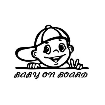 Naughty Boy BABY ON BOARD Car Stickers Wall Home Glass Window Door Laptop Auto Truck Vinyl Decor Decal Black 15.7cmX11.5cm