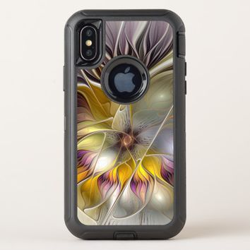 Abstract Colorful Fantasy Flower Modern Fractal OtterBox Defender iPhone X Case