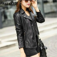 Ladies Motorcycle Leather Jacket Black Slim High Quality PU