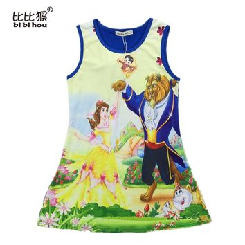 new Kids Girl princess belle costumes Beauty and beast cosplay carnival costume kids princess dress for Christmas girls clothes