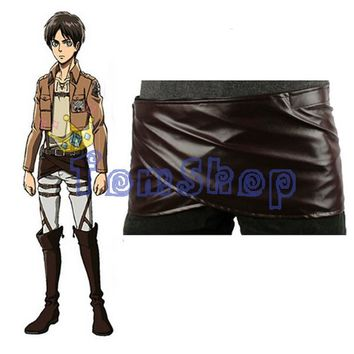 Cool Attack on Titan HOT! Japanese Anime no   Deluxe Edition Cosplay Costumes Chocolate Leather Apron Belt Skirt AT_90_11