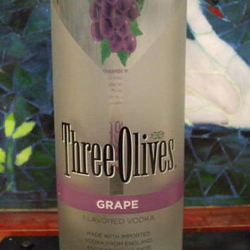 20 Ounce Pure Soy Candle in Reclaimed Three Olives Grape Vodka Bottle - Your Choice of Scent