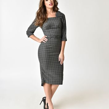 Voodoo Vixen Grey Tartan Veronica Pencil Dress