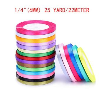 6mm 25 Yard/22meter Silk Satin Ribbon Wedding Decoration Party Gift Wrap Accessories Christmas Supplies New Year DIY Material