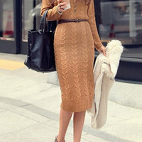 Brown Long Sleeve Knitted Bodycon Dress