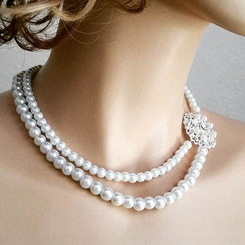 Pearl Bridal Necklace Wedding Rhinestone Crystal Necklace, White Pearl Bridal Necklace Wedding Jewellery, SHANIA