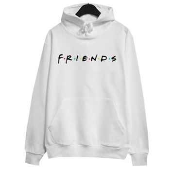 Women  Friends TV Show Hoodie Casual Loose Crop Hoodie Tops Friends Letters Print Pullover Long Sleeve Shirts