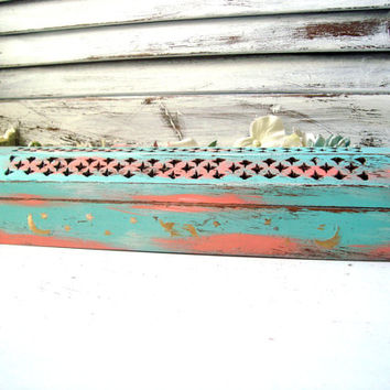 Teal and Coral Rustic Incense Burner, Teal Incense Coffin, Incense Holder, Incense Box, Distressed Incense Holder, Shabby Chic