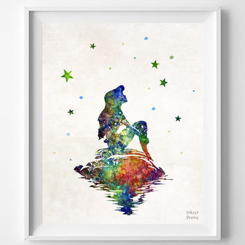 Little Mermaid on the Rock, Ariel, Disney Print, Watercolor, Poster, Christmas ornaments, Illustration Art, Wall, Kid Room, Nursery