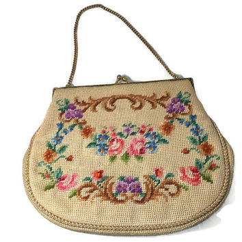 Vintage Needlepoint Purse - Floral Handbag, Goldtone Chain, Pocketed Interior, Cell Phone Holder, Evening Bag