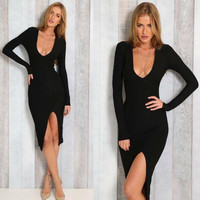 Black Long Sleeve Front Slit Bodycon Dress