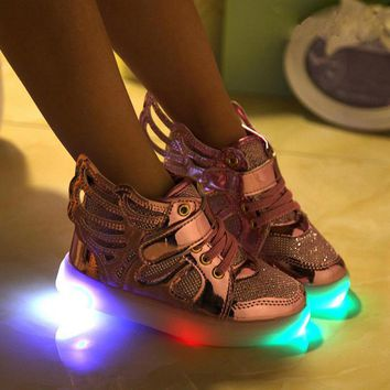 Children Shoes Light Fashion Glowing Sneakers  Little Girls Shoes Wings