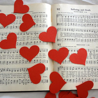 Large Red Heart Confetti,  Ephemera  for Altered Arts, Art Journals, Junk Journals, Smash Books, Collage, Table Decor