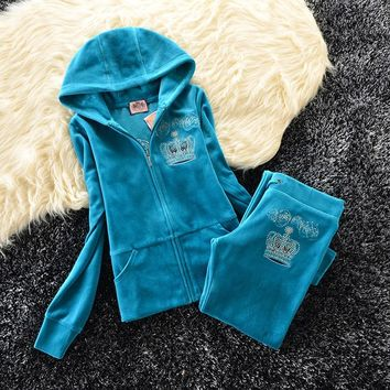 Juicy Couture Studded Bright Crown Velour Tracksuit 31059 2pcs Women Suits Blue