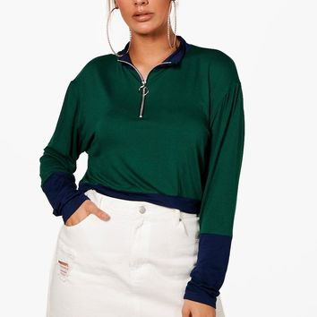 Plus Immie Contrast Zip Top | Boohoo