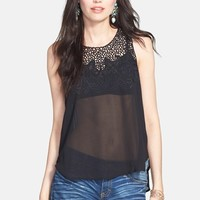 ASTR Embroidered Mesh Tank