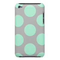 Polka Dots Mint And Gray iPod Touch (4th Generation) Case from Zazzle.com