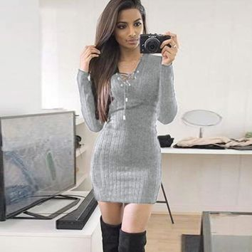 Fashion  Dress  Knitting  Autumn  Winter  Women  Dress