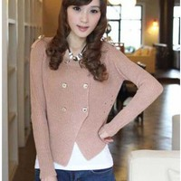 Polyester Pink Long Sleeve Double-Breasted Round Neck Chic Design Sweater ( color) style IN03MFG703-Pink in  Indressme