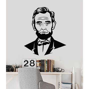 Vinyl Wall Decal President United States Portrait Abraham Lincoln Stickers Mural (g2741)