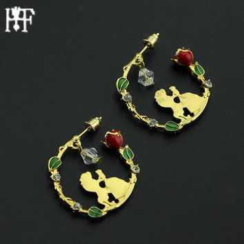 2017 Beauty and the Beast earrings in Stud Earring Belle Cosplay Jewelry Rose Earring with Swing crystal beads Party Accessories