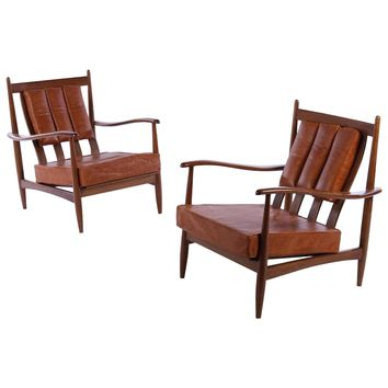 Pair of Danish Channeled Leather Lounge Chairs