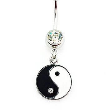 Black and White Yin Yang Belly Ring